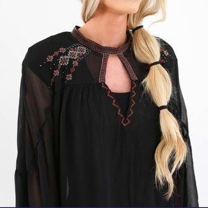Beautiful embroidered sheer boho western blouse